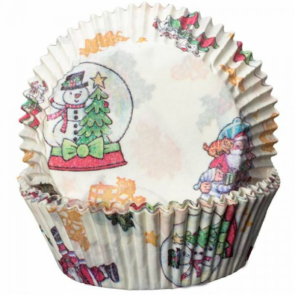Cream with Snowglobes and Santa Cupcake Cases