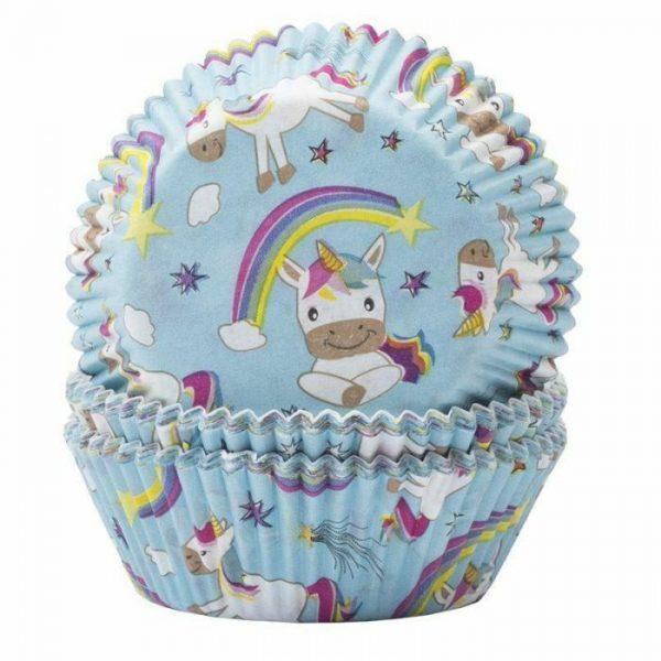 Unicorns and Rainbows Blue Cupcake Cases