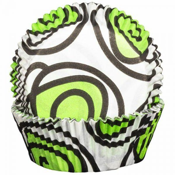 Green Swirly Cupcake Cases