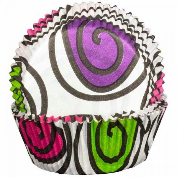 Pink Green Purple Swirly Cupcake