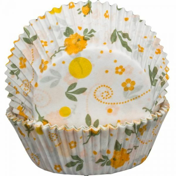 Floral Yellow Cupcake Cases