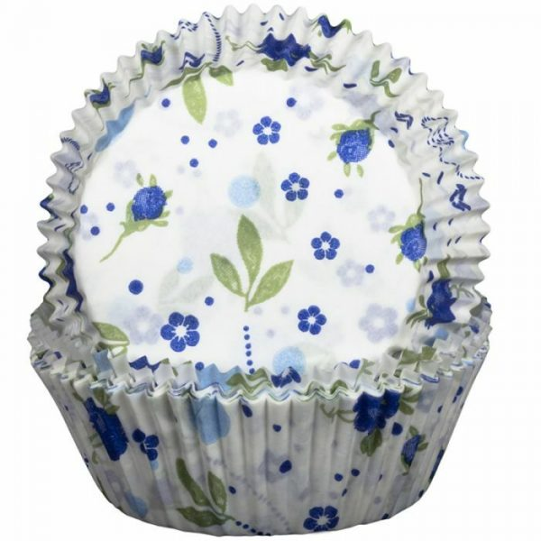 Floral Blue Cupcake Cases