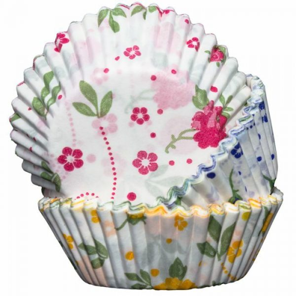 Cupcake Cases Floral Yellow, Blue and Pink