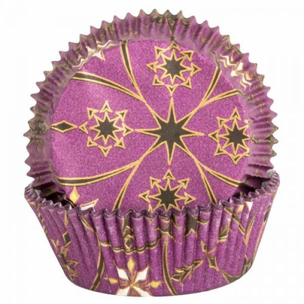 Purple Cupcake Cases with Gold and Black Star Design