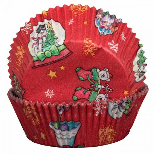 Red Cupcake Cases with Snowglobes and Santa Pattern