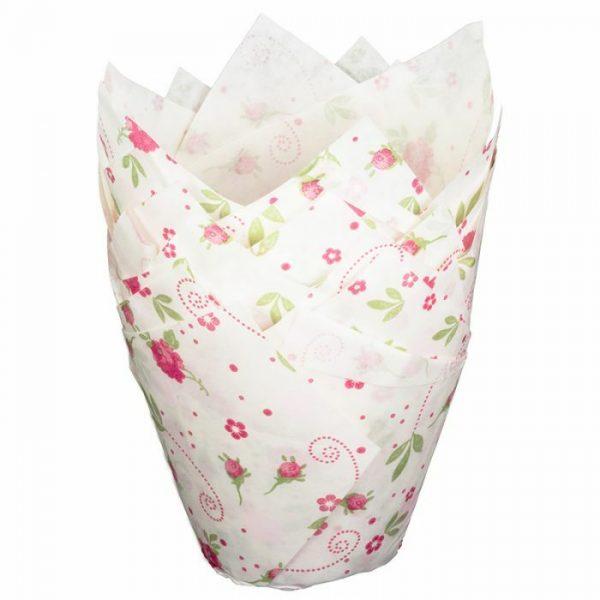 White Tulip Wraps with Floral Design